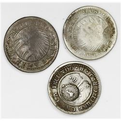 "Lot of three Costa Rica 1/2R ""lion"" countermarks (Type VI, 1849-57) on Costa Rica (Central American"