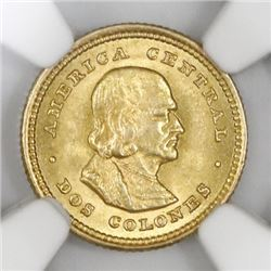 Costa Rica, gold 2 colones, 1900, NGC MS 63.