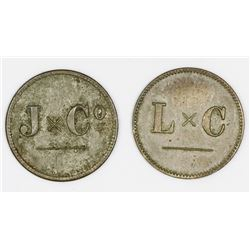 Curacao (Dutch administration), lot of two copper-nickel-zinc 1-stuiver tokens, Jesurun and Co., Ley