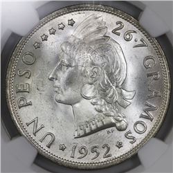 Dominican Republic, 1 peso, 1952, NGC MS 65, ex-Rudman.