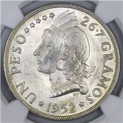 Dominican Republic, 1 peso, 1952, NGC MS 65.