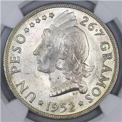 Dominican Republic, 1 peso, 1952, NGC MS 65.