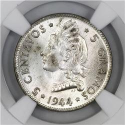 Dominican Republic, 5 centavos, 1944, NGC MS 64.