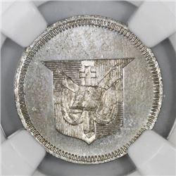 Dominican Republic, proof copper-nickel piefort 1 centavo essai, 1892, plain edge, NGC PF 63, ex-Rud
