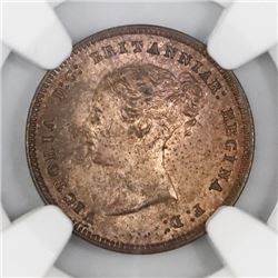 Great Britain, bronze half farthing, Victoria, 1844, NGC MS 64 RB.