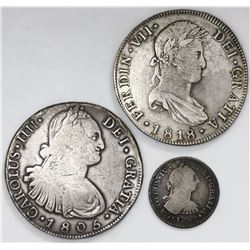 Lot of three Guatemala bust 8R (two) and 1R (one), assayer M: 1805, 1818 and 1789 respectively.
