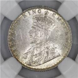 Bombay, India (British), 1/4 rupee, 1928, NGC MS 63.