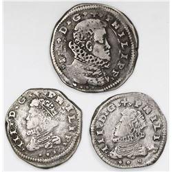 Lot of three Messina, Sicily (Italian States) 4 tari (one) and 3 tari (two), Philip III, all dated 1