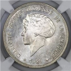Luxembourg, 10 francs, 1929, NGC MS 64.