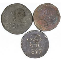 Lot of three Oaxaca (Morelos/SUD), Mexico, copper 8 reales, 1813, plain fields, with Morelos (Type A