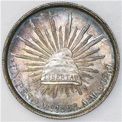 Mexico City, Mexico, 1 peso, 1898AM, original strike, PCGS UNC details / cleaned.