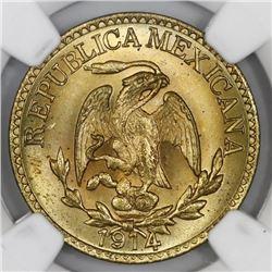 Durango, Mexico, brass 5 centavos, 1914, NGC MS 65.