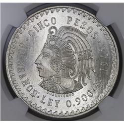 Mexico City, Mexico, 5 pesos, 1948, Cuauhtemoc, NGC MS 66+.