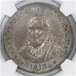 Nicaragua (struck at the Heaton mint), 1 cordoba, 1912-H, NGC XF 45.