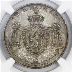 Norway, 2 kroner, 1906, Haakon VII, Norway independence, NGC MS 63.