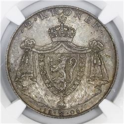 Norway, 2 kroner, 1906, Haakon VII, Norway independence, NGC MS 63.