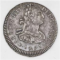 Lima, Peru, bust 1 real, Charles IV (large bust), 1791IJ.