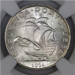 Portugal, 5 escudos, 1934, NGC MS 64.