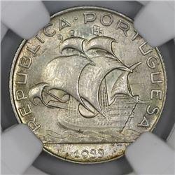 Portugal, 2-1/2 escudos, 1933, NGC MS 63.