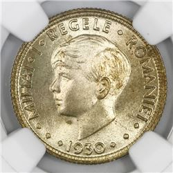 Romania (struck at the Heaton mint), 5 lei, Mihai I, 1930-H, NGC MS 66, finest known in NGC census.