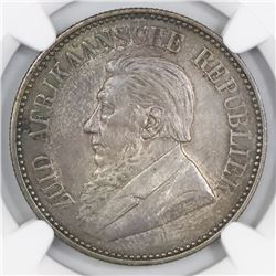 South Africa, 2-1/2 shillings, 1897, NGC AU 58.