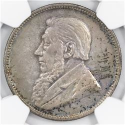 South Africa, 2 shillings, 1897, NGC AU 53.