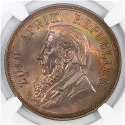 South Africa, bronze 1 penny, 1898, NGC MS 64 RB.