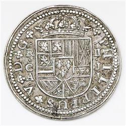 "Cuenca, Spain, milled 2 reales ""pistareen,"" Philip V, 1718JJ."