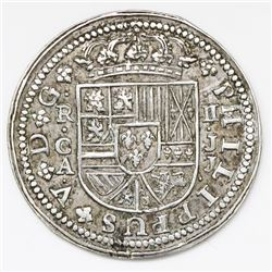 Cuenca, Spain, milled 2 reales  pistareen,  Philip V, 1718JJ.