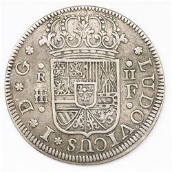 "Segovia, Spain, milled 2 reales ""pistareen,"" Louis I, 1724F."