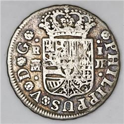 Madrid, Spain, milled 1 real  half pistareen,  Philip V, 1740JF.