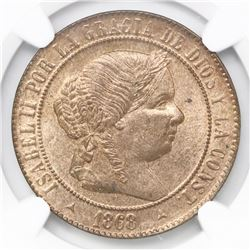 Segovia, Spain, bronze 5 centimos, 1868-OM, NGC MS 64 RB, finest known in NGC census.