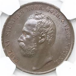 Sweden, bronze 5 ore, Carl XV Adolf, 1872/66, NGC MS 64 Brown, finest and only example in the NGC ce