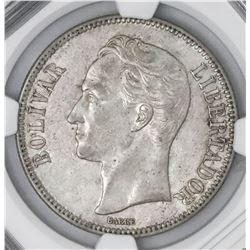 Venezuela (struck at the Philadelphia mint), (5 bolivares), 1926, NGC AU 55.