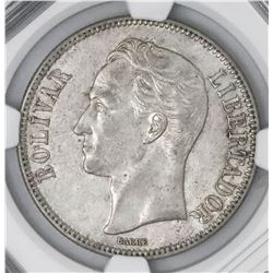 Venezuela (struck at the Philadelphia mint), (5 bolivares), 1926, NGC AU 55.