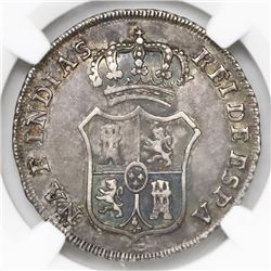 Lot of two Colombian 2R-sized proclamation medals, Ferdinand VII, 1808, NGC XF 45 and VF details / h