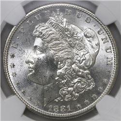 USA (San Francisco mint), $1 Morgan, 1881-S, NGC MS 65.