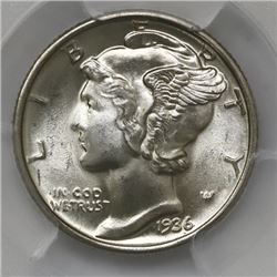 USA (Philadelphia mint), 10 cents Winged Liberty, 1936, PCGS MS66 Full Bands.