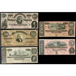 Lot of five Confederate States notes of Fed. 17, 1864: $100, series H, plate D-D, serial 4210; $50,