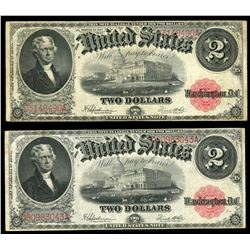 Lot of two USA, legal tender, $2, series of 1917, Speelman-White: serials D3148490A, D80983043A.