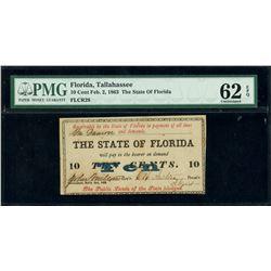 Tallahassee, Florida, State of Florida, 10 cents, Feb. 2, 1863, PMG UNC 62 EPQ.