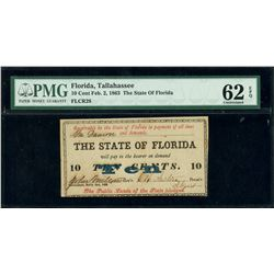 Tallahassee, Florida, State of Florida, 10 cents, Feb. 2, 1863, PMG UNC 62 EPQ.