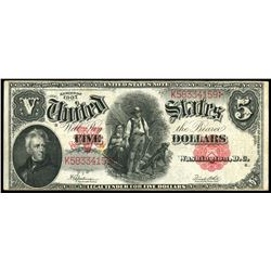 USA, United States note, $5, series of 1907, Speelman-White, serial K58334159.