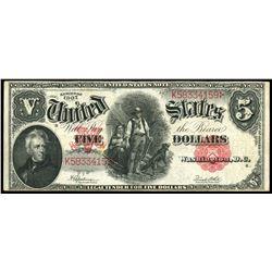 USA, United States note, $5, series of 1907, Speelman-White, serial K58334159.