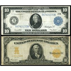 Lot of two USA $10: gold certificate, series of 1907, Teehee-Burke, serial E32582743; Federal Reserv