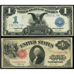 Lot of two USA $1: silver certificate, series of 1899, Elliott-White, serial E76714175A; legal tende