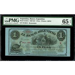 Rosario, Argentina, Banco Argentino, 1 peso remainder, 1-5-1867, series M, serial 9016, PMG Gem UNC