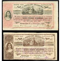 Lot of two Buenos Aires, Argentina, La Popular Argentina, 10 pesos fuertes: 31-12-1870, 2nd series,