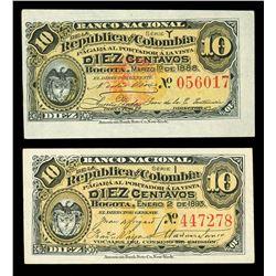 Lot of two Bogota, Colombia, Banco Nacional, 10 centavos: 1-3-1888, series Y, serial 056017; 2-1-189