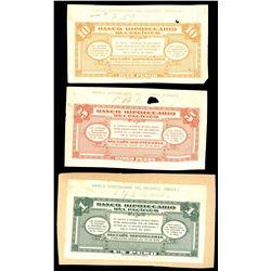 Lot of three Cali, Colombia, Banco de Hipotecario del Pacifico back proofs, ca. 1920s: 10, 5, and 1
